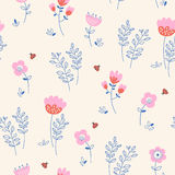 Seamless pattern with flowers, leaves and ladybugs. Vector illustration Stock Photography