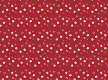 Seamless pattern with flowers and leaves on a red background in the Japanese style. Vector Stock Photos