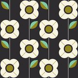 Seamless pattern with flowers and leaves in retro scandinavian style. Vector illustration Stock Photo