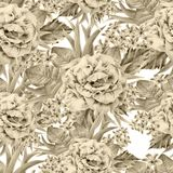 Seamless pattern with flowers. Leaves. Rose. Watercolor illustration. Royalty Free Stock Photography