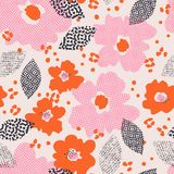 Seamless pattern with flowers and leaves. Vector illustration Royalty Free Stock Photos