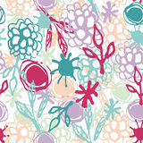 Seamless pattern with flowers, leaves, spot. Sketch. Pink, blue purple Royalty Free Stock Photo
