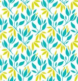 Seamless pattern with flowers and leaves. Vector floral background. Royalty Free Stock Images