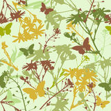 Seamless pattern with flowers and leaves Stock Photo