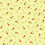 Seamless pattern with flowers and leaves. Royalty Free Stock Image