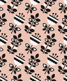 Seamless pattern with flowers and leaves. Vector illustration Stock Photos