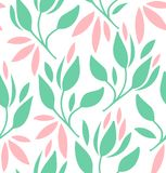Seamless pattern with flowers and leaves. Vector romantic texture. Stock Photography
