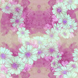 Seamless pattern. Flowers and leaves - watercolor background image - decorative composition. Royalty Free Stock Photos