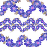 Seamless pattern. Flowers and leaves - watercolor background image - decorative composition. Royalty Free Stock Photo