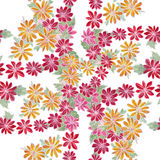 Seamless pattern. Flowers and leaves - watercolor background image - decorative composition. Stock Photo