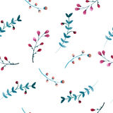 Seamless pattern of flowers and leaves Royalty Free Stock Photos