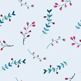 Seamless pattern of flowers and leaves Stock Image