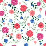 Seamless pattern with flowers and leaves on white background . Vector illustration Stock Image