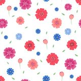 Seamless pattern with flowers and leaves on white background . Vector illustration Royalty Free Stock Image