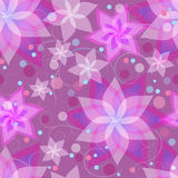Seamless pattern with flowers lilies, circles and swirls. Beautiful ornamental background seamless pattern with pink and purple summer flowers lilies, circles Royalty Free Stock Photography