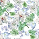 Seamless pattern with flowers. Lily. Calla. Hibiscus. Watercolor illustration. Royalty Free Stock Photography
