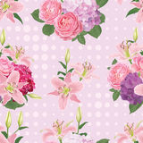 Seamless pattern of flowers, lily, rose and hydrangea with dot in the background. Royalty Free Stock Photos