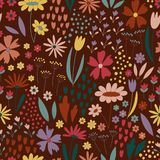 Seamless pattern with flowers and little elements royalty free illustration