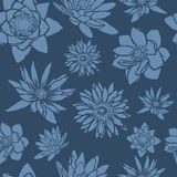 Seamless pattern with flowers, lotus, water lily Stock Photography