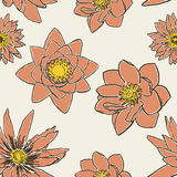 Seamless pattern with flowers, lotus, water lily Royalty Free Stock Photos