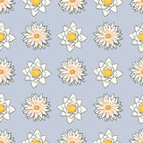 Seamless pattern with flowers, lotus, water lily Royalty Free Stock Image