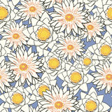 Seamless pattern with flowers, lotus, water lily Royalty Free Stock Images