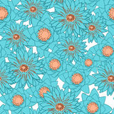 Seamless pattern with flowers, lotus, water lily Stock Images