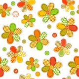 Seamless pattern with flowers made of sewing patches and buttons Stock Photo