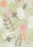 Seamless Pattern with Flowers and May-Bugs Royalty Free Stock Image