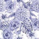 Seamless pattern with flowers. Monstera. Anemone. Pansies. Hudrangeya. Watercolor illustration. Royalty Free Stock Image