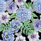 Seamless pattern with flowers. Monstera. Anemone. Pansies. Hudrangeya. Watercolor illustration. Stock Image