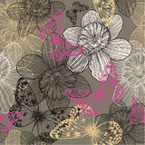 Seamless pattern with flowers narcissus and pink b. Utterflies, hand drawing. Vector illustration Royalty Free Stock Images