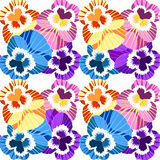 Seamless pattern flowers net violet pansies on a blue background Stock Photo