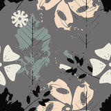 Seamless pattern with flowers and oak leaves  on grey ba Stock Photos