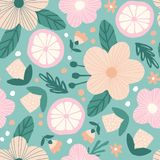 Seamless pattern with flowers and oranges royalty free illustration