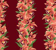 Seamless pattern with flowers orchids. Seamless texture with red flowers orchids with leaves Stock Photo
