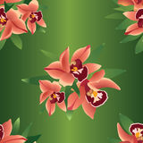 Seamless pattern with flowers orchids. Seamless texture with red flowers orchids with leaves on green background Royalty Free Stock Images