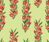 Seamless pattern with flowers orchids. Seamless texture with red flowers orchids with leaves on light green background Stock Image