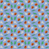 Seamless pattern of flowers orchids Stock Photos