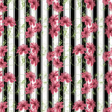 Seamless  pattern with flowers ornament on black white  strip in the background Royalty Free Stock Photo