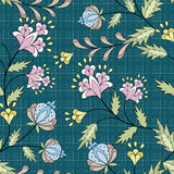 Seamless pattern with flowers ornament stylish texture on blue background. Seamless abstract pattern with flowers ornament stylish texture on blue background vector illustration
