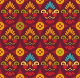 Seamless pattern, flowers in ovals, red. Stock Image