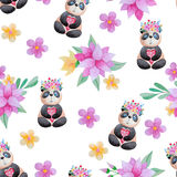 Seamless pattern with flowers and panda. Seamless pattern with cartoon panda and flowers in watercolor. Cute kids background Stock Illustration
