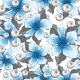 Seamless pattern. Flowers and pearls Stock Image