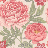 Seamless pattern with flowers peonies. Floral seamless pattern for fabrics, textiles, wallpaper, paper. Vector. Garden flowers peonies. Design Victorian style Stock Photography