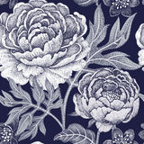 Seamless pattern with flowers peonies. Floral seamless pattern for fabrics, textiles, wallpaper, paper. Vector. Garden flowers peonies. Design Victorian style Stock Photo
