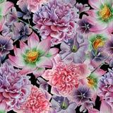 Seamless pattern with flowers. Peony. Lotus. Petunia. Watercolor illustration. Stock Photo
