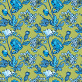 Seamless pattern with flowers - poppy and sweet pea in blue colo Stock Photos