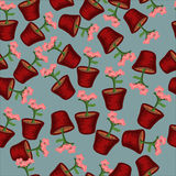 Seamless pattern flowers in pots. Seamless pattern with pink flowers in pots on a blue background Royalty Free Illustration
