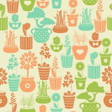 Seamless pattern with flowers in pots Royalty Free Stock Image